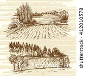 rural landscape   Shutterstock .eps vector #412010578