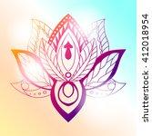 lotus mandala on a bright... | Shutterstock .eps vector #412018954