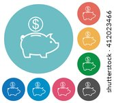 flat dollar piggy bank icon set ...