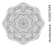 mandala doodle drawing. round... | Shutterstock . vector #412027699