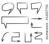 hand drawn speech bubbles ... | Shutterstock .eps vector #412027753