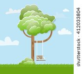 swing on tree in park. funny... | Shutterstock .eps vector #412033804