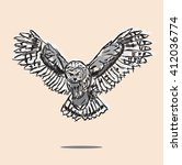 abstractly the image of an owl  ... | Shutterstock .eps vector #412036774