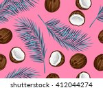seamless pattern with coconuts. ... | Shutterstock .eps vector #412044274