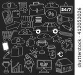 vector set of doodle business... | Shutterstock .eps vector #412052026