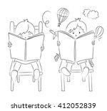 boy and girl kids reading books ... | Shutterstock .eps vector #412052839