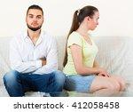 sad young stressed couple... | Shutterstock . vector #412058458