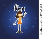 cartoon libra girl on starry...   Shutterstock .eps vector #412061524