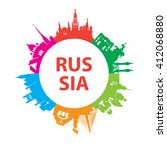 modern concept travel to russia.... | Shutterstock .eps vector #412068880