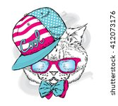 funny cat in a cap and glasses. ... | Shutterstock .eps vector #412073176