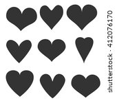 hand drawn hearts set | Shutterstock .eps vector #412076170