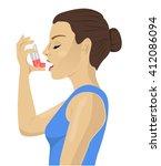 pretty brunette using an asthma ... | Shutterstock .eps vector #412086094