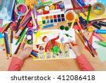 child drawing boy fly with air... | Shutterstock . vector #412086418