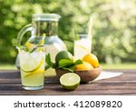 fresh homemade lemonade with ice | Shutterstock . vector #412089820