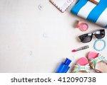 feminine summer background. set ...   Shutterstock . vector #412090738