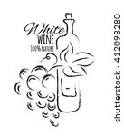 hand drawn wine bottle and... | Shutterstock .eps vector #412098280