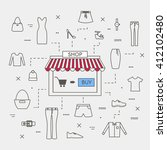 set of line art design concept...   Shutterstock .eps vector #412102480