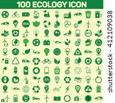 100 ecology icon set on color... | Shutterstock .eps vector #412109038