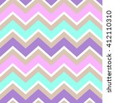 chevron turquoise white purple pink cream color seamless pattern vector. | Shutterstock vector #412110310