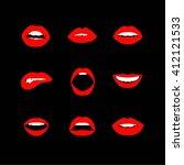 vector set of women's lips... | Shutterstock .eps vector #412121533