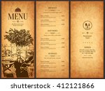 restaurant menu design. vector... | Shutterstock .eps vector #412121866