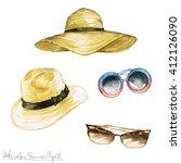 watercolor summer clipart  ...   Shutterstock . vector #412126090