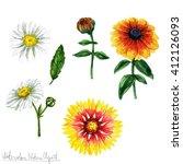 watercolor nature clipart  ... | Shutterstock . vector #412126093