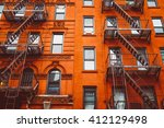 escape fire ladders at... | Shutterstock . vector #412129498