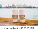 two coffee cups in new york... | Shutterstock . vector #412129534