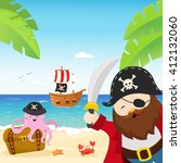 pirate captain with sword | Shutterstock .eps vector #412132060