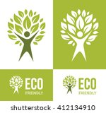 abstract symbol with green man... | Shutterstock .eps vector #412134910