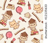 kawaii kittens seamless... | Shutterstock .eps vector #412135633