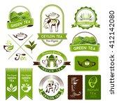 green  indian  ceylon and black ... | Shutterstock .eps vector #412142080