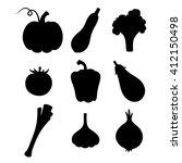 vector set of black silhouettes ... | Shutterstock .eps vector #412150498