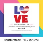love usa  america. happy... | Shutterstock .eps vector #412154893
