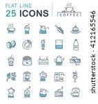 set vector line icons in flat... | Shutterstock .eps vector #412165546