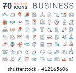 set vector line icons in flat... | Shutterstock .eps vector #412165606