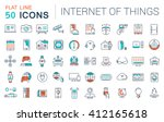 set vector line icons in flat... | Shutterstock .eps vector #412165618