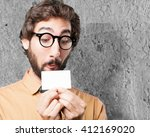 crazy man with name card.funny... | Shutterstock . vector #412169020