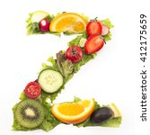 letter z made of salad and... | Shutterstock . vector #412175659