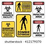 zombie crossing infected ... | Shutterstock .eps vector #412179370