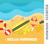 summer beach vector... | Shutterstock .eps vector #412182526