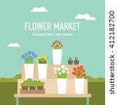farmers market flower market... | Shutterstock .eps vector #412182700