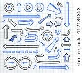 arrows doodle set on paper... | Shutterstock .eps vector #412184353