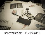 blurred business work space in... | Shutterstock . vector #412195348