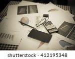 blurred business work space in... | Shutterstock . vector #412195348