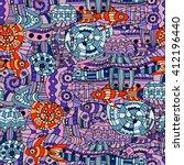 vector doodle marine life... | Shutterstock .eps vector #412196440
