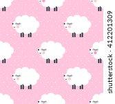 Cute Sheep Seamless Pattern On...