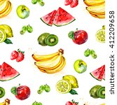 watercolor fruit pattern | Shutterstock . vector #412209658