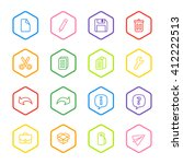 colorful line web icon set with ...